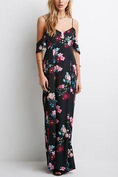 Sexy plunge backless fría hombro al azar impresión floral cami maxi vestido con revestimiento
