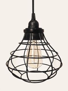 Tesla V Round Industrial Cage Pendant Lamp with Plug-in Cord | October Design Co.