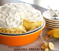Just as the name suggests this Mile High Banana Cream Pie boasts an impressive and creamy banana cream filling and topped with billows of whipped cream on top.