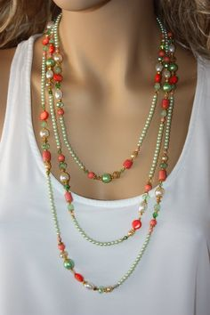 Extra Long Bright Green and Reddish Orange Beaded by monroejewelry