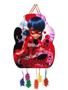 Piñata Ladybug Mediana. Ideal para jugar, con los regalitos o chuches, en la fiesta de Ladybug. Articulos para fiesta de cumpleaños de Ladybug.