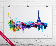 Original Watercolor Painting - abstract painting - city - Paris - Eiffel Tower - Love kissing
