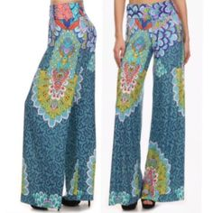 PALAZZO BOHEMIAN PANTS BEAUTIFUL PRINTED HIGH WAISTED, FULL LENGHT, WIDE LEG PALAZZO PANTS!! SO COMFY BUT YET SO ELEGANT AND CLASSY 95% POLYESTER, 5% SPANDEX   this is a brand new item unopened packaging Pants