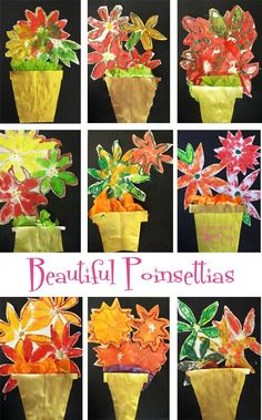 Poinsettia plants for the holidays! Kids stamp, cut, paint and create their way to a lovely mix-media.