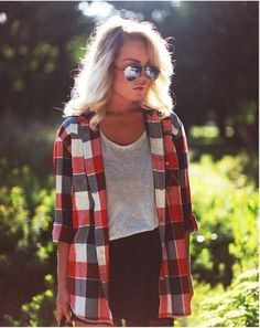 Plaid shirt and mirrored glasses and heavenly hair