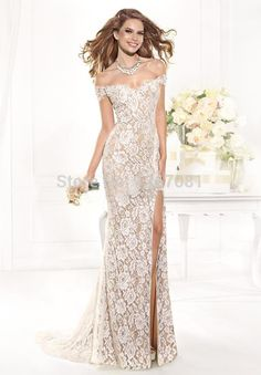 2014 Hot Sale Lace Split Side Floor length Evening dress And Party dress Size2-4-6-8-10-12-14-16+Custom