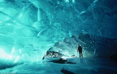Ice cave formed under the Muir Glacier at the Glacier Bay National Park in the U.S. state of Alaska