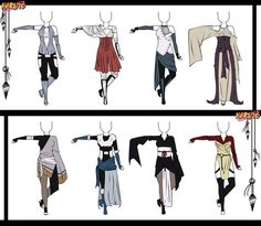 Naruto Adoptable Outfit Set 11 – Closed by Orangenbluete. Naruto Oc, Naruto Girls, Anime Outfits, Girl Outfits, Fashion Outfits, Naruto Clothing, Ninja Outfit, Anime Drawings Sketches, Drawing Clothes