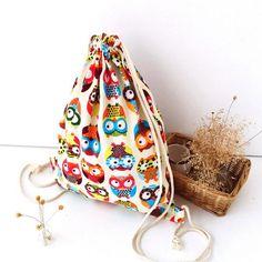 Owl backpack Lovely Backpacks 3D Printed Animal Cute Girl'S Backpacks Female Travel Shopping Drawstring Bag Mochila de buhos