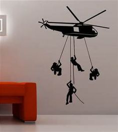 Helicopter with Soldiers Jumping Wall Decal by IHeartVinylKF on Etsy https://www.etsy.com/listing/294536953/helicopter-with-soldiers-jumping-wall