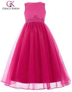 Buy GIRLS DRESSES/TEA LENGTH SLEEVELESS FLOWER GIRL DRESS WITH APPLIQUES AND BEADING/GRACE KARINfor R945.00