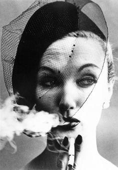 SMOKE + VEIL, PARIS (VOGUE), 1958 by WILLIAM KLEIN (Born 1928)
