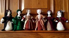 Pictured here in order of his wife's left to right: Catherine of Aragon, Anne Boleyn, Jane Seymour, Anne of Cleves, Catherine Howard, Catherine Parr,