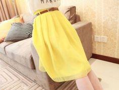 Yellow Pleated Chiffon Skirt