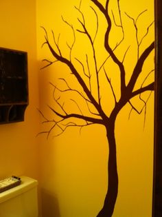 Tree I hand painted on my daughters powder room wall. Tree Wall Painting, Daughters, To My Daughter, Powder Room, Bedroom Ideas, Creativity, House Ideas, Walls, Trees