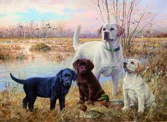 """Proud Legacy"" - Lab family   Jim Killen  22 1/2"" x 36"" Original Acrylic Painting Available for Sale www.KillenOriginals.com"