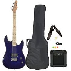 Full Size Blue Electric Guitar with Amp, Case and Accessories Pack Beginner Starter Package.  Humbucker pickups for a Rock sound, guitar strap, amp cable and tuner.  Everything a new electric guitar player needs to get going.  Would make a great Christmas present.