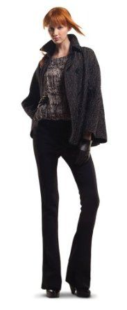 MAXSTUDIO WOOL CREPE HERRINGBONE SWINGY PEACOAT BLACK, S MAXSTUDIO. $118.00