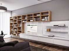 Furniture. White Floating Entertainment Unit and Wall Mounted Wooden Bookshelf adhered on Grey Painted Wall. Brilliant Entertainment Unit Ideas