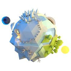 "Low Poly ""Little planet by Alex Pushilin Game Design, 3d Design, Flat Design, Range Murata, 3d Computer Graphics, Low Poly Games, Little Planet, Polygon Art, Isometric Art"