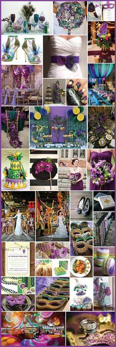 "Mardi Gras Themed - ""Fat Tuesday"" - Purple, Blue, Green & Yellow - Wedding Details 2014"