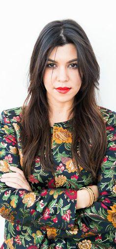 Who made  Kourtney Kardashian's floral jacket and skirt?