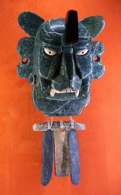 tlatollotl:  Mixtec jade mask of a bat. Found at Monte Alban. Post Classic period.