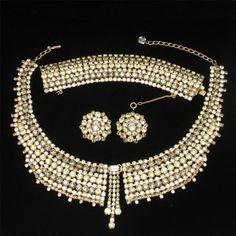 Hobe Parure Necklace Bracelet Earrings Exceptional Rhinestone Set Vintage #Hobe