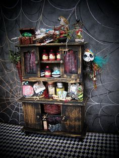 Dollhouse Miniature Witchy Voodoo Cabinet 1/12 scale. $60.50, via Etsy.