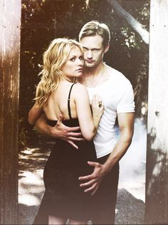 Sookie Stackhouse (Anna Paquin) and Eric Northman (Alexander Skarsgård) of True Blood - That Swedish son of a b- is going to be the death of me.