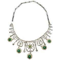An Antique Platinum and Gold Diamond and Fine Quality Emerald Edwardian Necklace