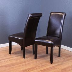 Monsoon Milan Faux Leather Dining Chairs (Set of 2) (Brown) Faux Leather Dining Chairs, Solid Wood Dining Chairs, Upholstered Dining Chairs, Dining Chair Set, Dining Room Chairs, Side Chairs, Bar Furniture, Furniture Deals, Parsons Chairs