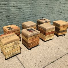 Reclaimed rolling crate stools - pallet wood storage, seed sack cushions