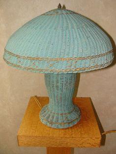 Arts and Crafts Mission Era Original Paint Green Mushroom Shade All Wicker Lamp  | eBay