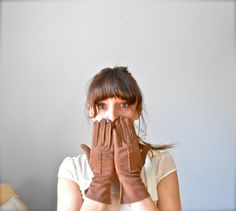 Vintage 1950's Chocolate Brown Women's Gloves by jacquelynmaria, $14.00