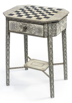 A George III painted penwork games table circa 1800  SOLD. 3,438 USD