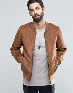 ab81643ce17 ASOS Faux Suede Bomber with Quilted Sleeve In Tan Leather Jacket
