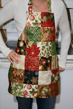 READY TO SHIP! This beautiful patchwork apron is ready to ship! This is the only one I have in this print and I will not. Christmas Aprons, Christmas Sewing, Christmas Crafts, Christmas Decorations, Etsy Christmas, Sewing Crafts, Sewing Projects, Baking Apron, Cute Aprons