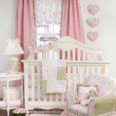 Glenna Jean 3 Piece Isabella Bedding Set, Pink/Green/Cream