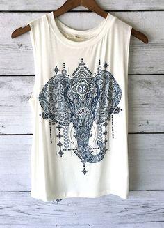 Sleeveless Elephant Print Tank Top (Ivory)