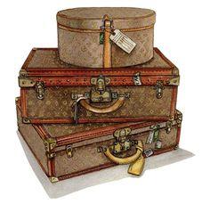Louis Vuitton suitcase and hat box. Print of my original watercolour - Hochzeitsgeschenk Vintage Louis Vuitton, Louis Vuitton Suitcase, Louis Vuitton Trunk, Louis Vuitton Agenda, Bag Illustration, Illustrations, Etiquette Vintage, Vintage Luggage, Fashion Wall Art