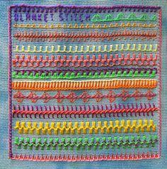 Embroidered blanket stitch sampler.
