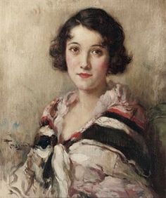 Fernand Toussaint (Belgian artist, 1873-1955) Portrait of an Elegant Woman