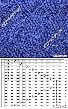 узор спицами 535 ажурный завиток | каталог вязаных спицами узоров