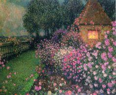 'Le Pavillon Dans La Roseraie, Gerberoy' by Henri Eugene Augustin Le Sidaner Post Impressionism, Mauritius, Canvas Art Prints, Garden Art, Landscape Paintings, Landscapes, Illustration Art, Fine Art, Artwork
