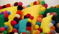 handpicked, by doble M design: Pom-pom cushions, by Elementos Argentinos Love Rainbow, Rainbow Colors, Crafty Craft, Kid Spaces, Vintage Inspired, Dinosaur Stuffed Animal, Sewing Projects, Cushions, Textiles