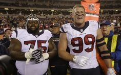 Houston Texans nose tackle Vince Wilfork (75) and defensive end J.J. Watt (99) celebrate the Texans 10-6 win over the Bengals during an NFL football game at Paul Brown Stadium on Monday, Nov. 16, 2015, in Cincinnati. ( Brett Coomer / Houston Chronicle )