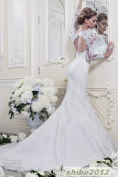 $143.00 and $35.00 shipping  (nice with the long lace sleeves)  2014 New Mermaid White/Ivory Wedding dresses Bridal gown Size 4 6 8 10 12 14 16+