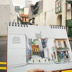 Today's walk . Сегодняшняя прогулка . #singapore #singapore_in_sketches #dalerrowney #sketchbook #winsorandnewton #watercolor #micronpigma #pen #linework #carnetdevoyage #travelbook #drawing #architecture #sketchonlocation #everydaymatters by mysquiggles