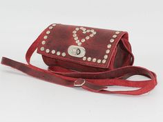Red leather Studded bag,Red Leather Bag heart, Crossbody studdedBag, Red Leather Shoulder Bag, sacoche femme rouge, pochette cuir rouge